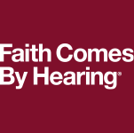 Faith Comes By Hearing Logo (white, two-line)