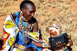 Audio Bible Listening, Mother & Child - Kenya, Africa
